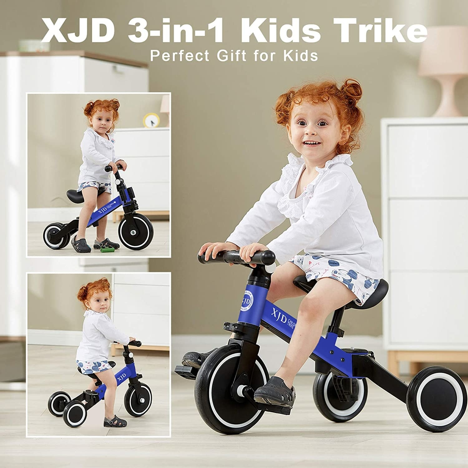 Model riding the bike and showing the different modes