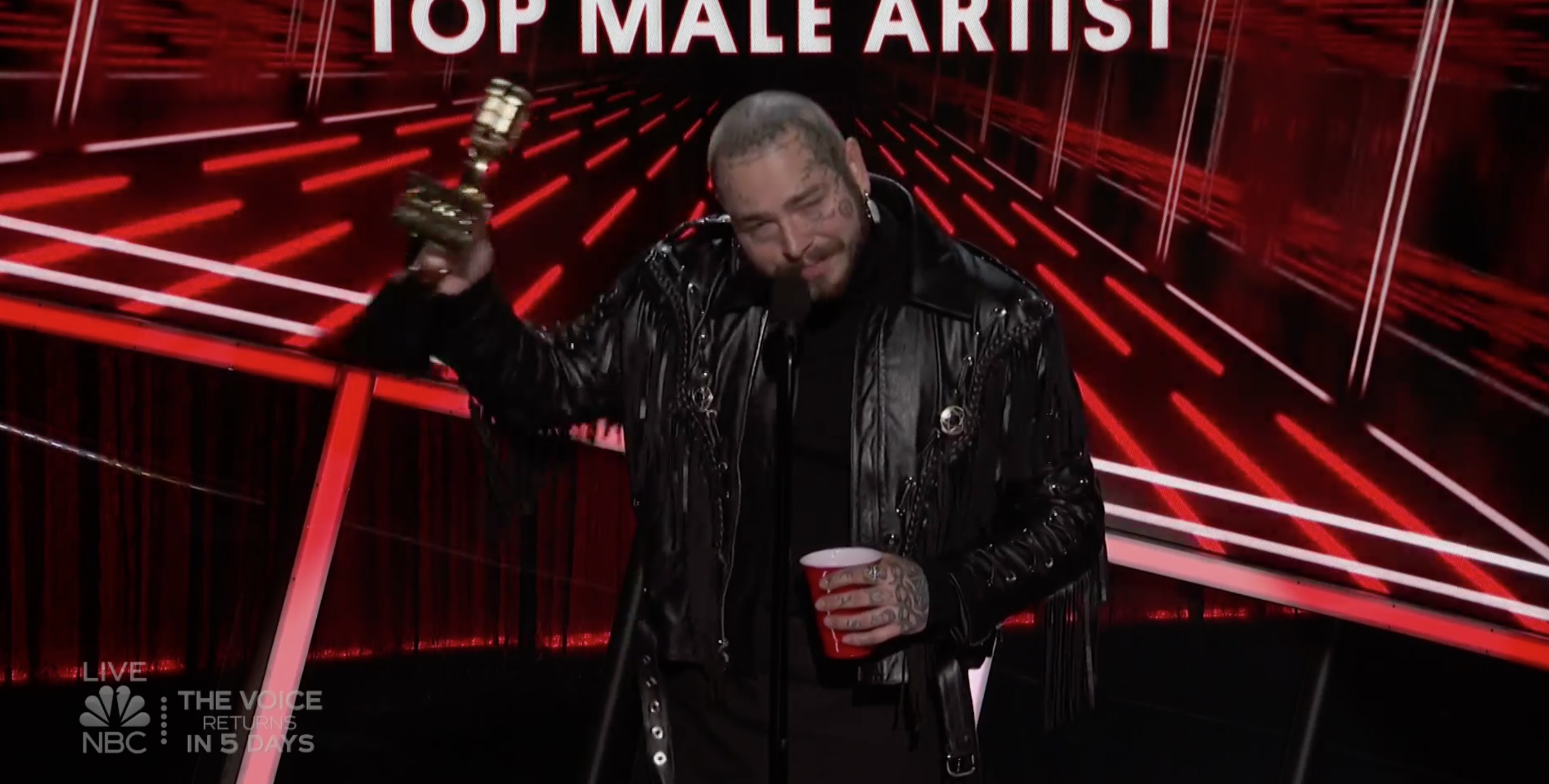 Post Malone at the 2020 Billboard Music Awards