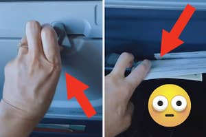 A hand locking a tray table next to a hand digging through a seat pocket