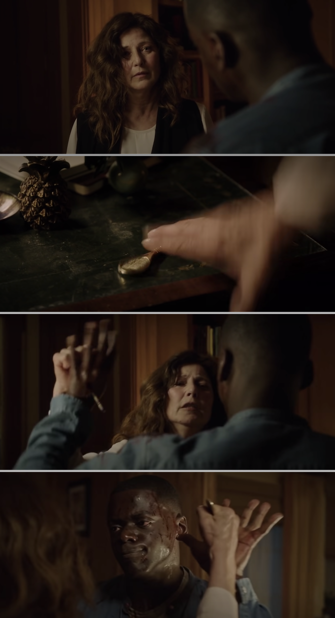 Missy stabbing a letter opener through the middle of Chris' left hand