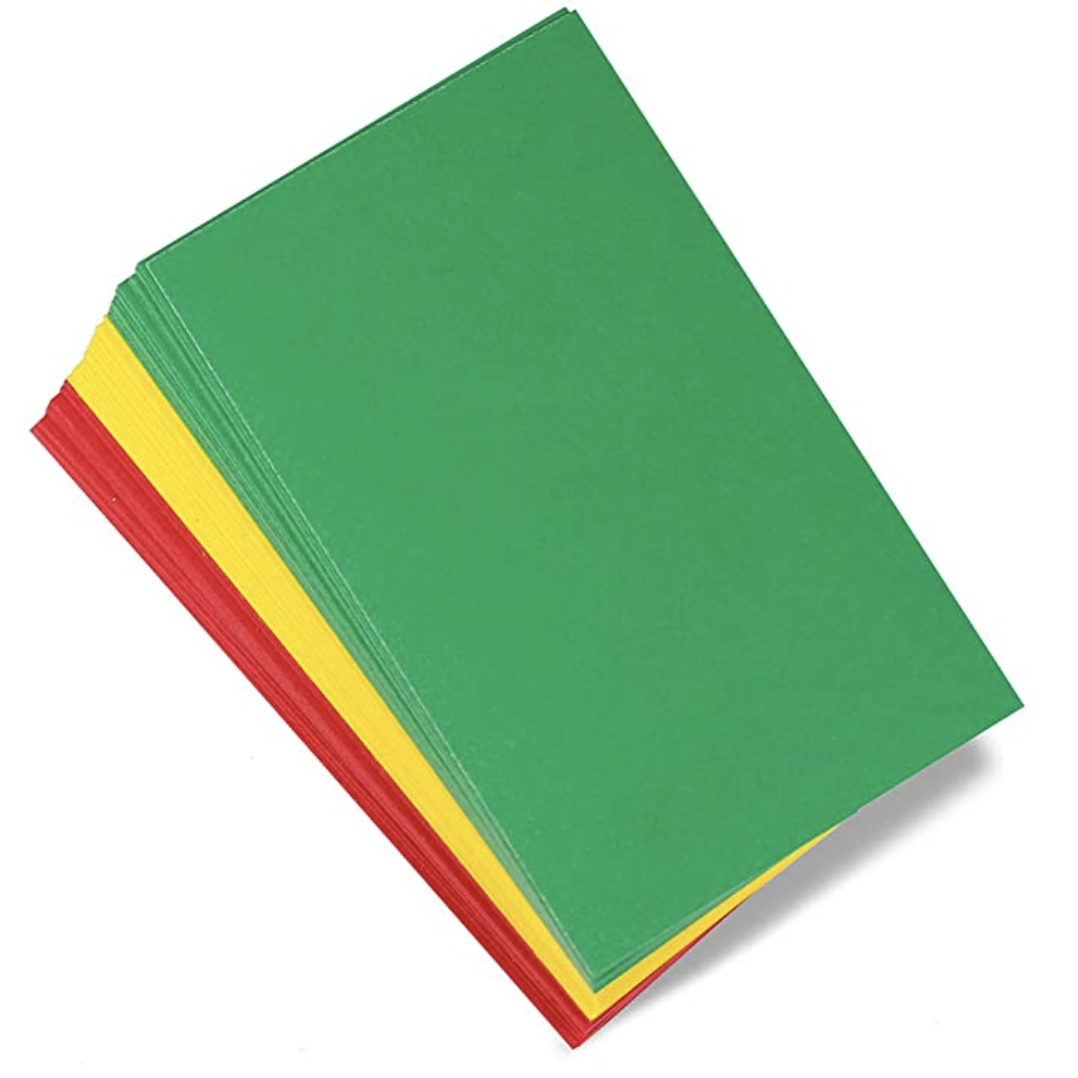 A stack of red, yellow, and green cards