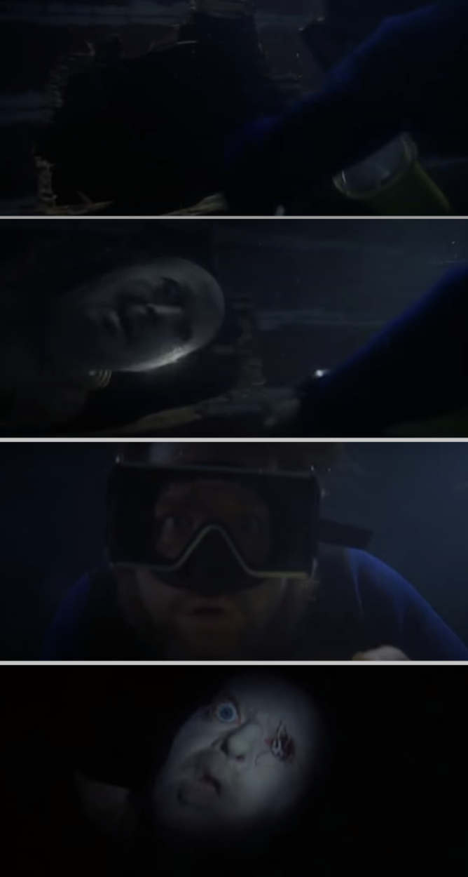 Hooper underwater and examining the ship's hull, but Ben's floating head pops out