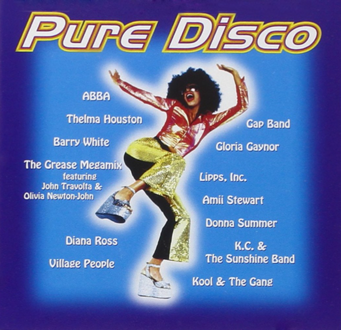 The cover if the Pure Disco album featuring woman dressed in 70s looking sparkly bellbottoms and top