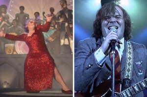 """在《史瑞克2》中,仙女教母唱着""""为英雄而坚持"""",在《摇滚学校》中,杜威唱着""""这是通往巅峰的漫漫长路(如果你想摇滚的话)"""""""