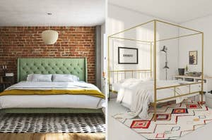 on the left a green bed frame and on the right a gold canopy bed