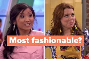 "London Tipton on the left and Harper Finkle on the right with ""most fashionable"" written over them"
