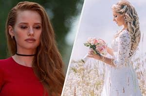 Cheryl gazing into a destructive fire as a bride smells her bouquet of flowers