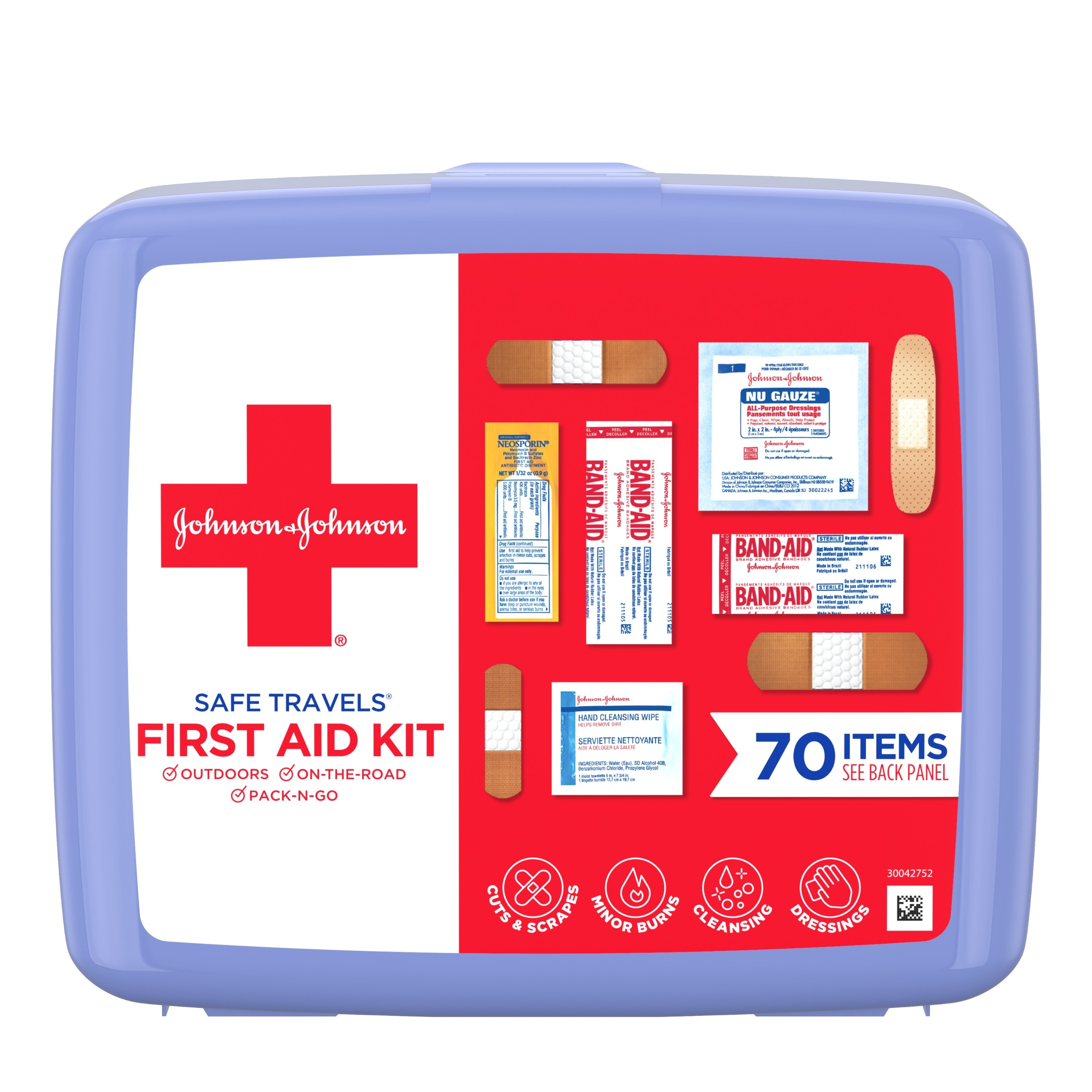 The Johnson & Johnson Safe Travels Portable Emergency First Aid Kit