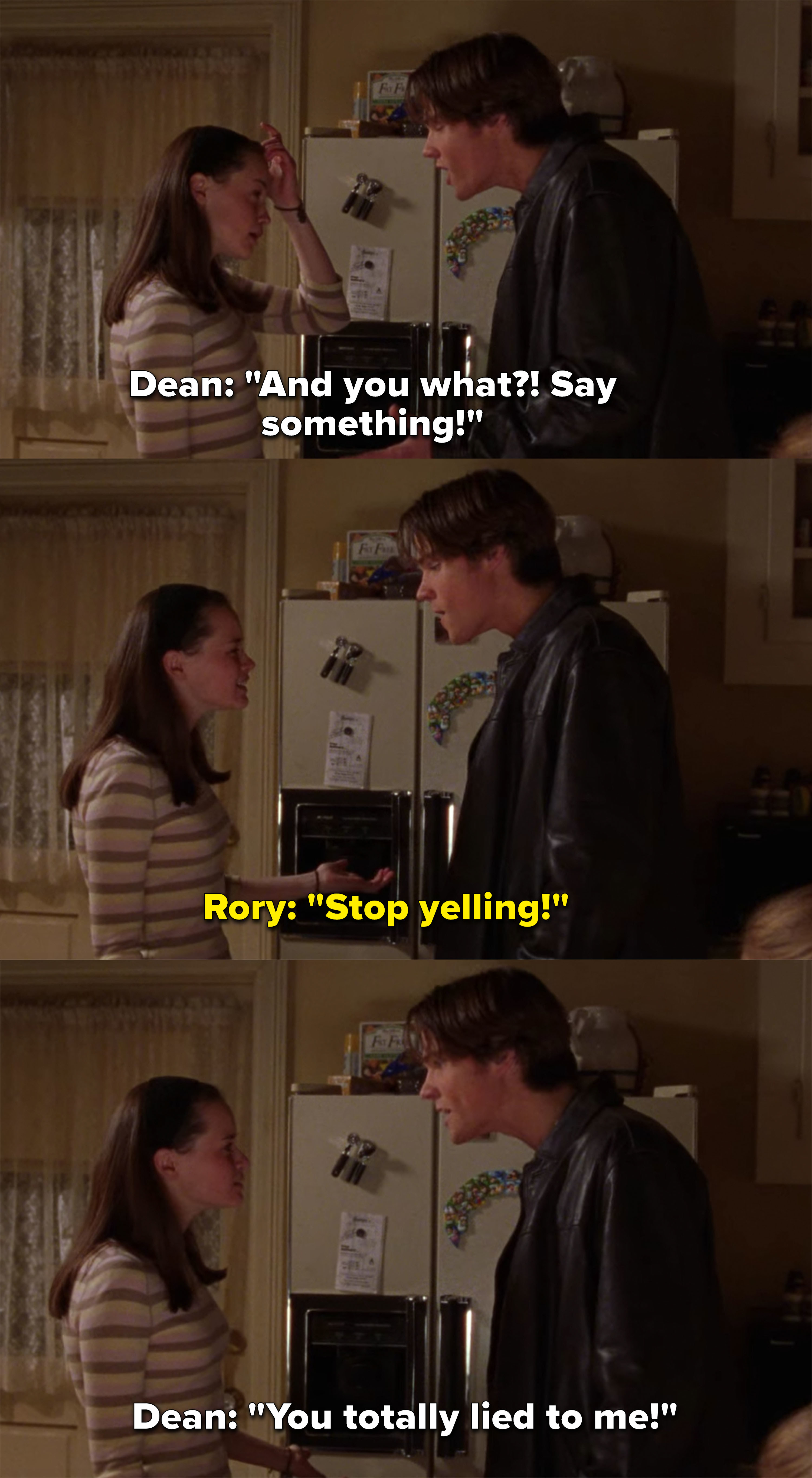 Dean yells at Rory for hanging out with Jess and Paris