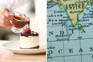 并排端上蛋糕和马尔代夫有人浇筑焦糖的图像