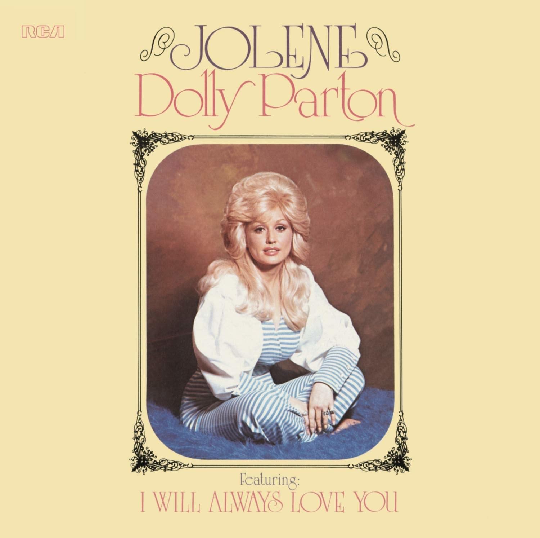 album cover of Jolene showing Dolly Parton sitting cross-legged on the floor