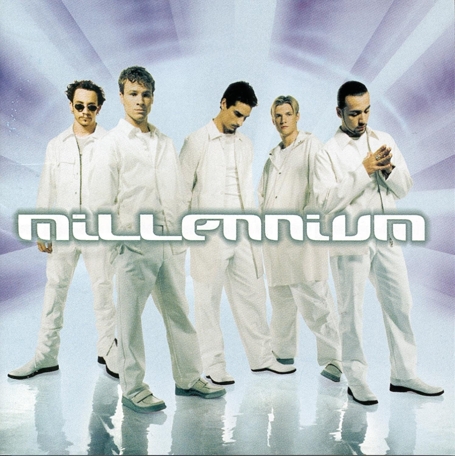 album cover of Millennium showing the Backstreet Boys standing, wearing all white