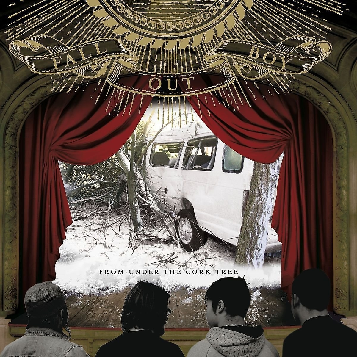 alternative album cover of From Under the Cork Tree showing the backs of people's head as they face a stage