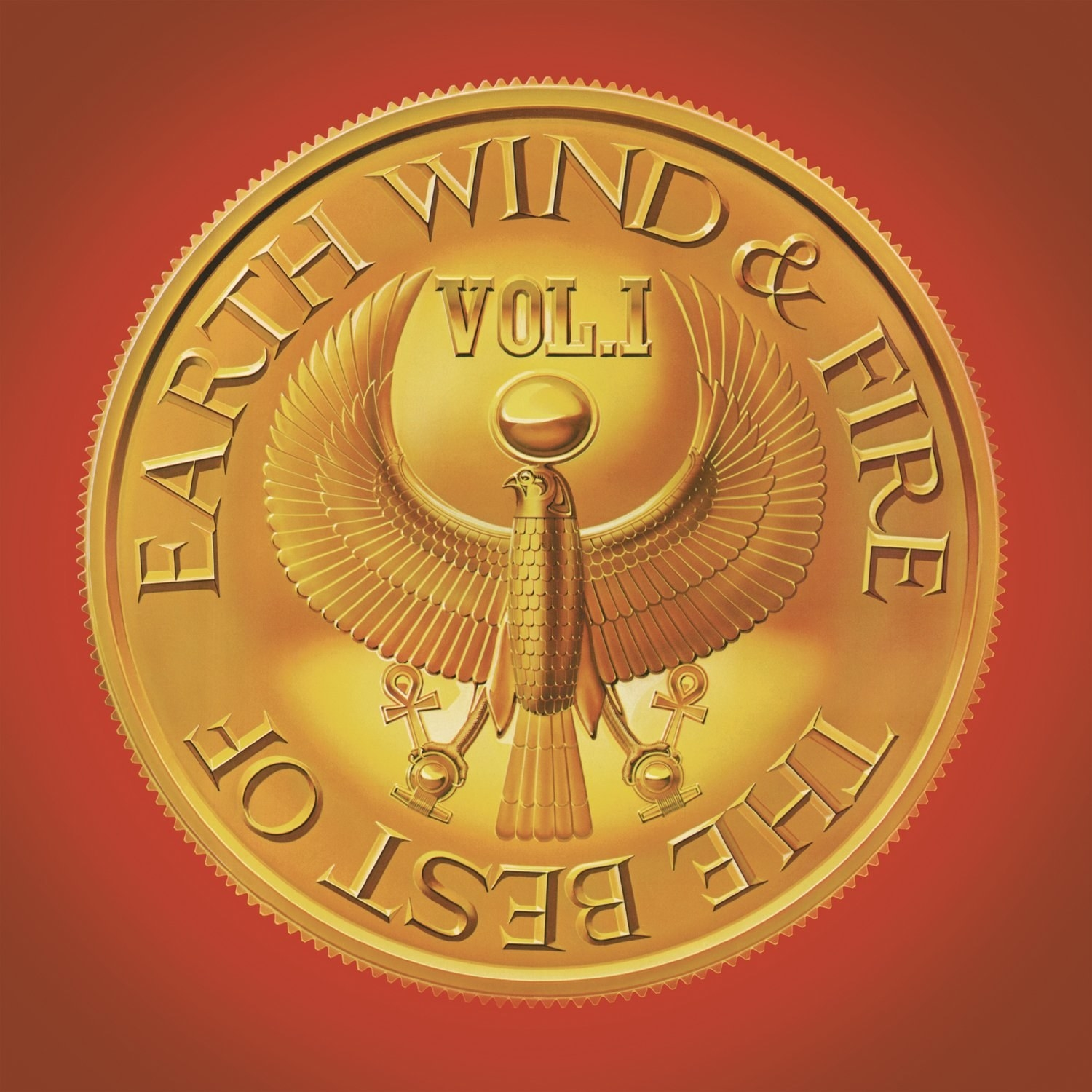 album cover of The Best of Earth, Wind & Fire, Vol. 1 showing the ancient Egyptian god, Horus