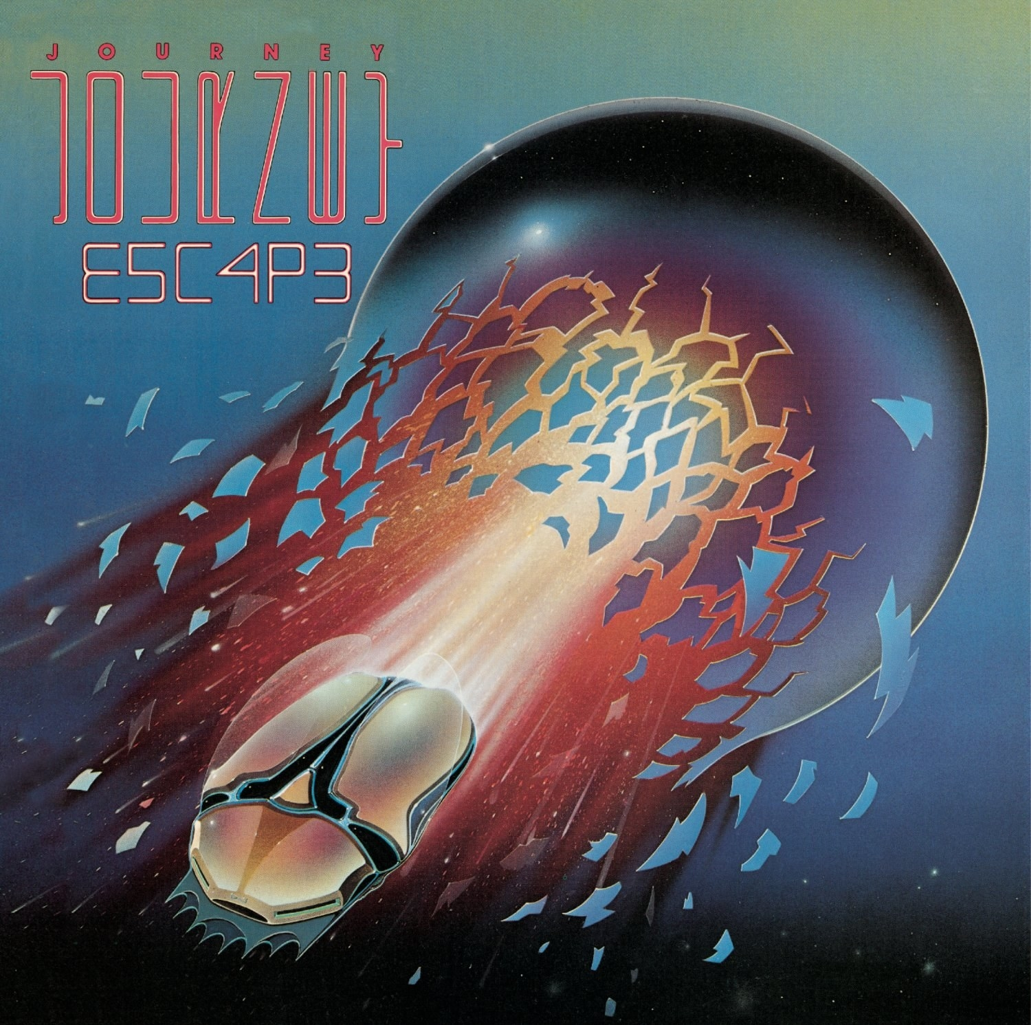 album cover of Escape showing a space ship bursting from a planet