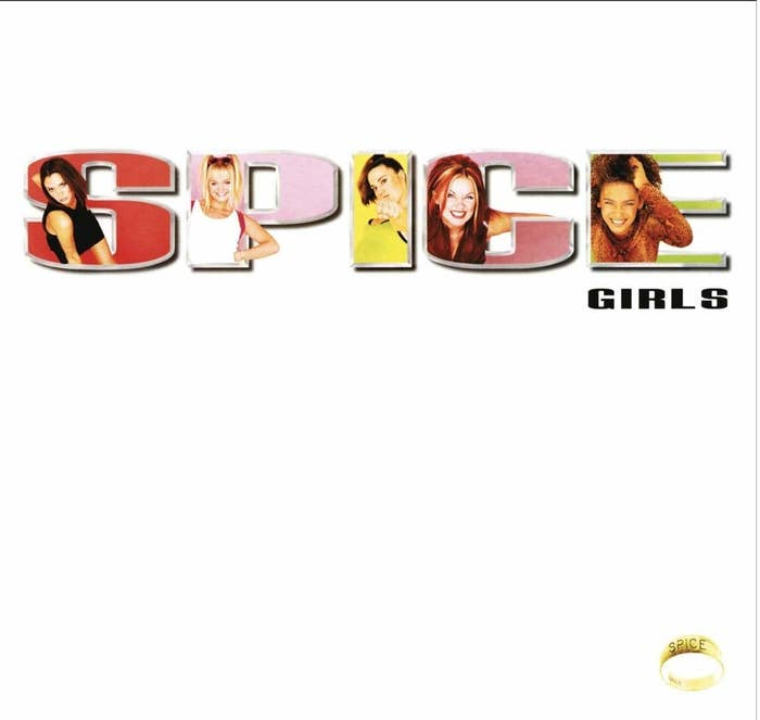 album cover of Spice showing a Spice Girl in each letter of the word