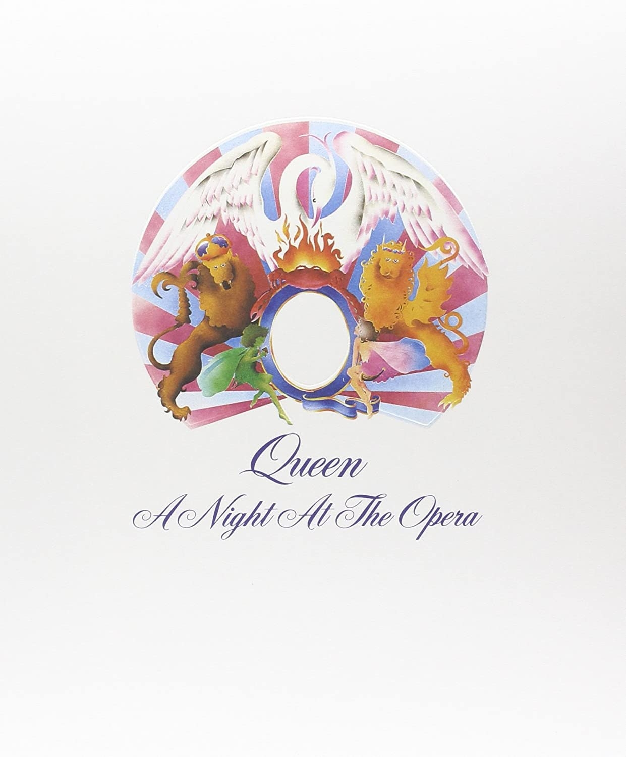 album cover of A Night at the Opera showing the Queen logo