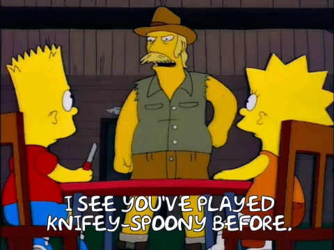 """A shot from a Simpsons episode where Bart and Lisa are at a table; an Australian man says to them """"I see you've played knifey-spoony before"""""""