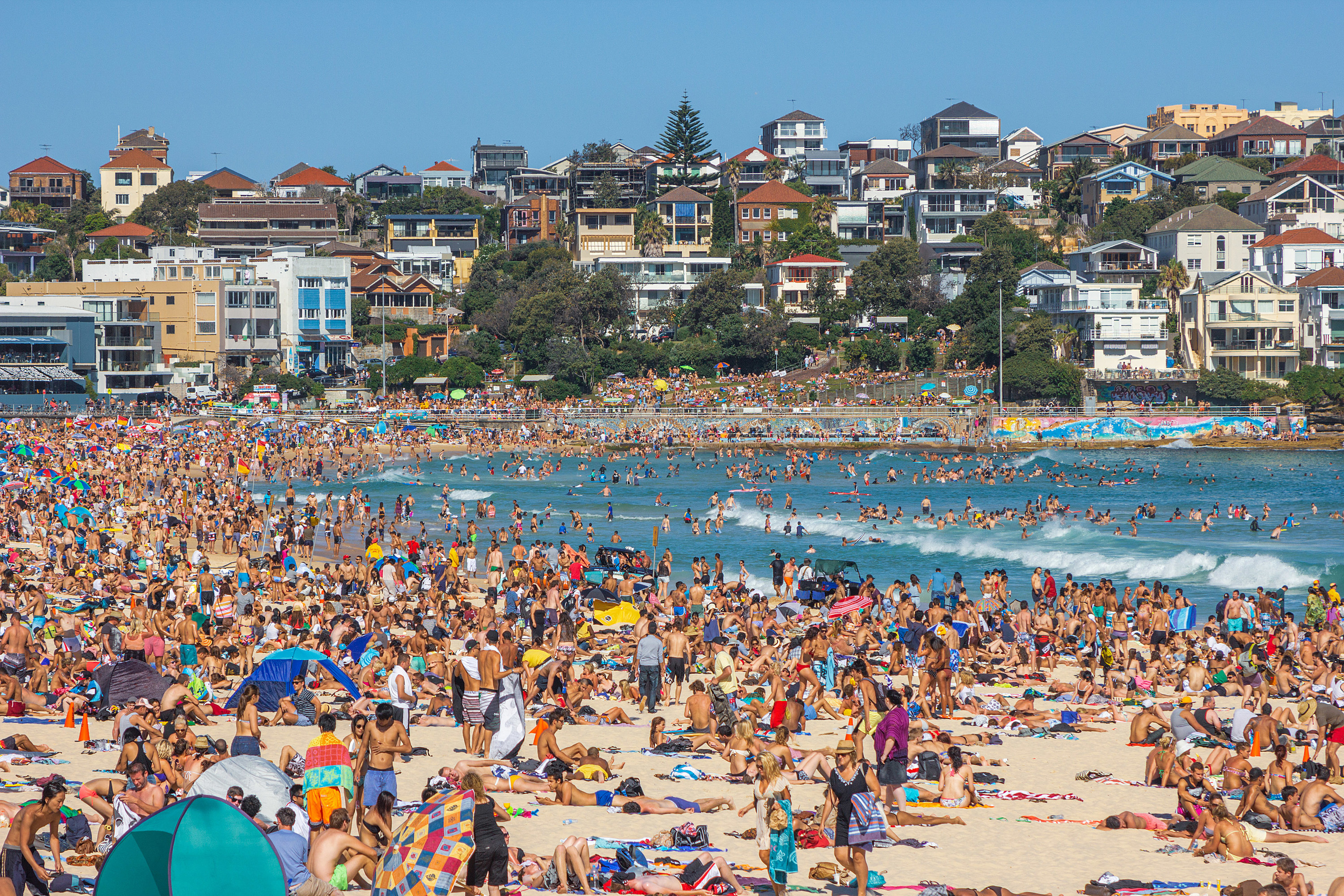 A busy, crowded Australian beach