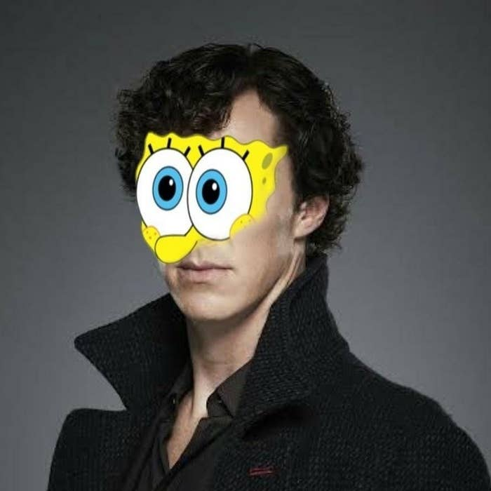 A mashup of sherlock and spongebob