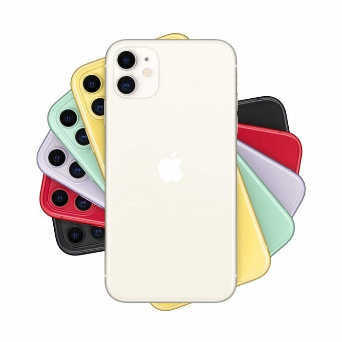 Various colours of the iPhone 11 arranged in a pattern.