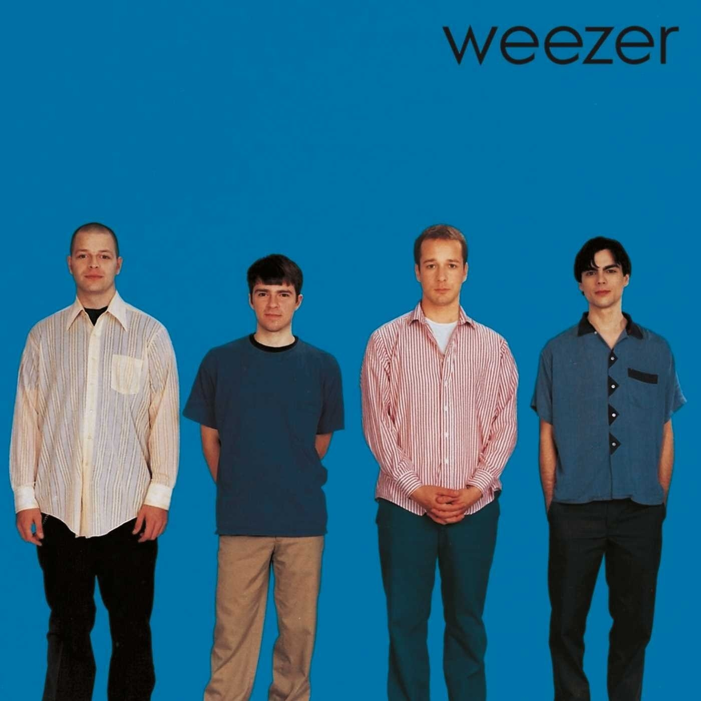 album cover of Weezer's Blue Album showing all four members standing in a row