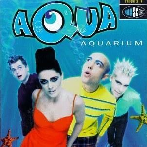 album cover of Aquarium showing Aqua with a blue water background