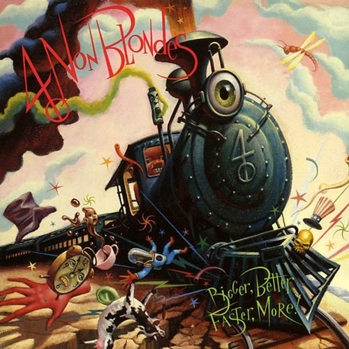 album cover of Bigger, Better, Faster, More! with a depiction of a train with anthropomorphic items, like a clock with a face, teacup holding tea with a face, etc., being pushed out of the way