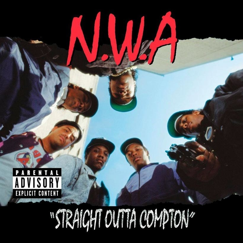 album cover of Straight Outta Compton showing N.W.A. looking down into the camera