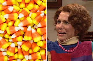 An image of Candy corn next to an image of Kristen Wiig looking scared