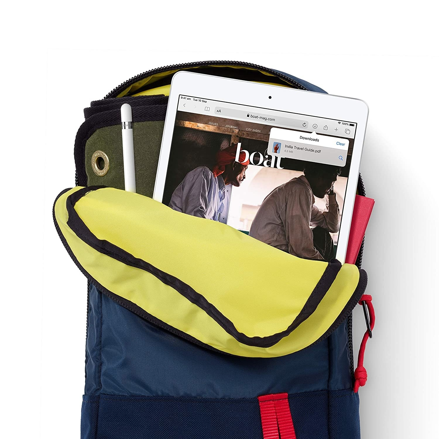 An iPad and Apple Pencil kept in a half-open bag.