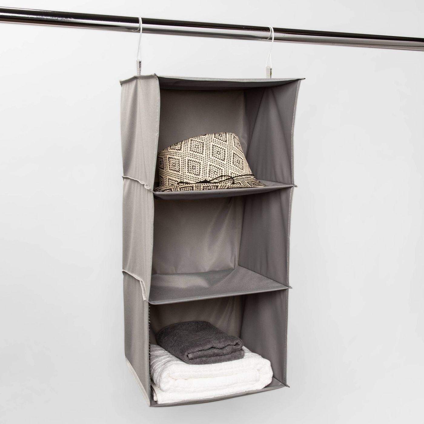Gray hanging three-compartment shelf organizer
