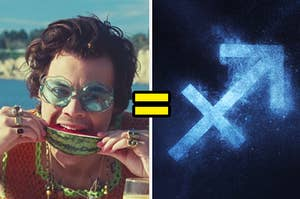 An image of Harry Styles from the watermelon sugar music video next to the zodiac symbol for sagittarius