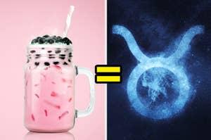 A strawberry boba tea next to an image of the taurus zodiac symbol