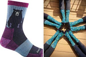On the left, purple socks with a bear on them. On the right, several feet wearing cactus print socks