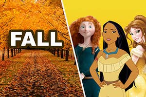 A fall scene with Merida, Pocahontas, and Belle hanging out in it