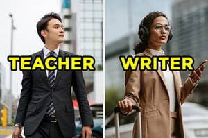 """On the left, someone walking down the street wearing a suit and tie labeled """"teacher,"""" and on the right, someone walking down the street wearing a turtleneck and coat labeled """"writer"""""""