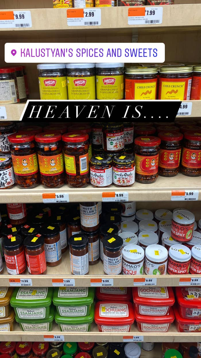 An aisle full of Asian-inspired condiments.