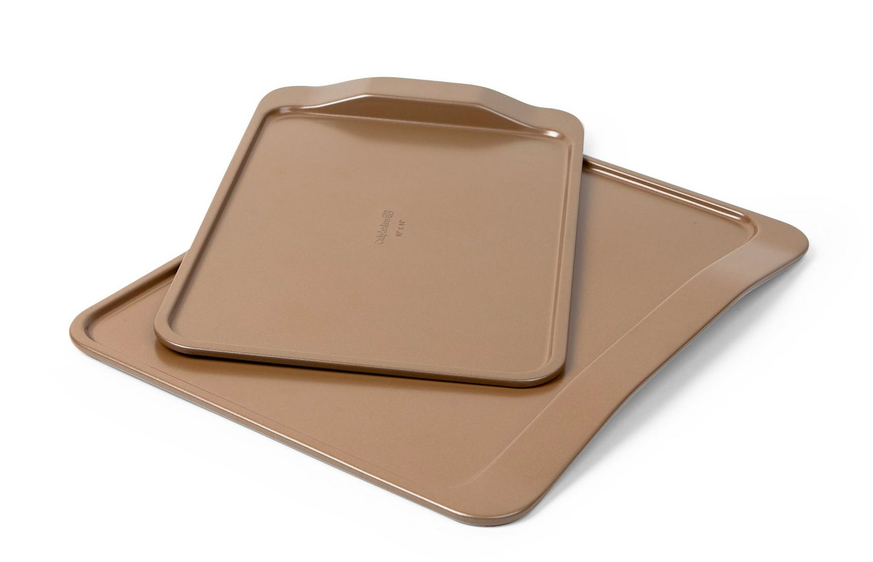 The tan cookie sheets