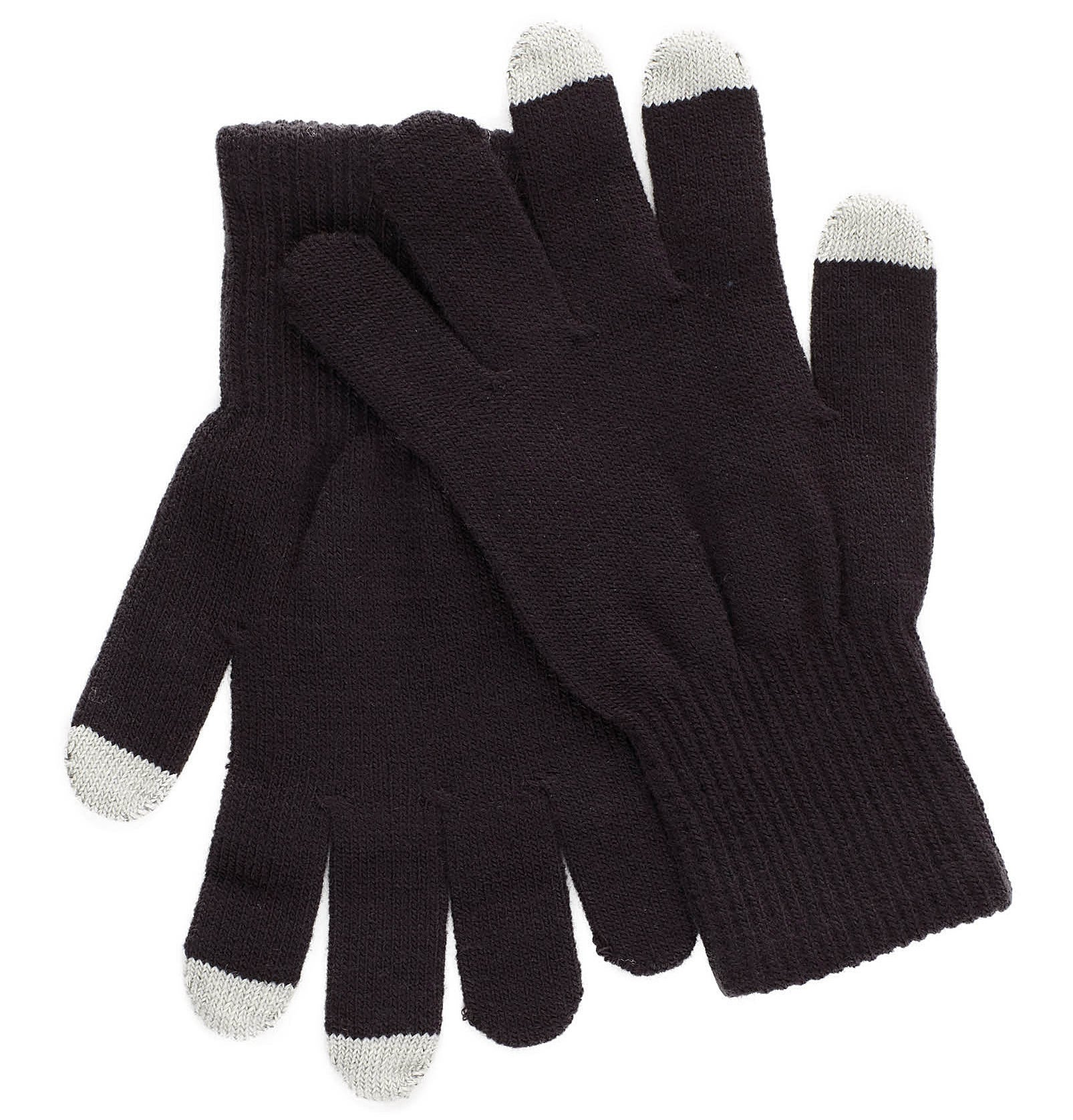 A pair of knit gloves with a different colour the tips of the thumb and two fingers