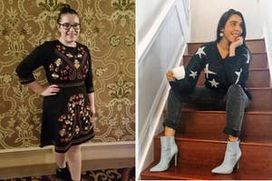 On the left, a reviewer wearing a black embroidered dress. On the right, a reviewer wearing a black and white star print sweater