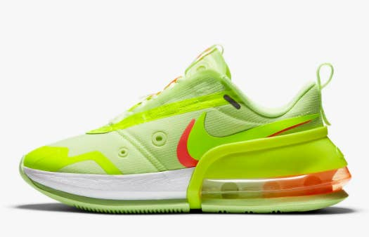 Neon yellow Nike Air Max Up Sneakers with a green upper and red and clear heel