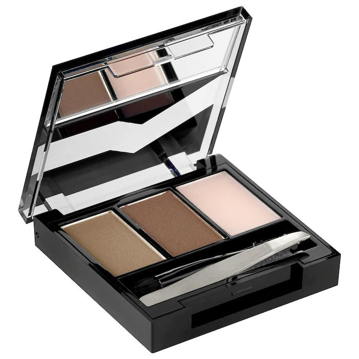 The eyebrow editor comes with three shades of powder, tweezers, and a spoolie
