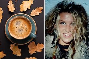 A cup of coffee surrounded by fall leaves on the left and kesha from the tik tok music video on the right