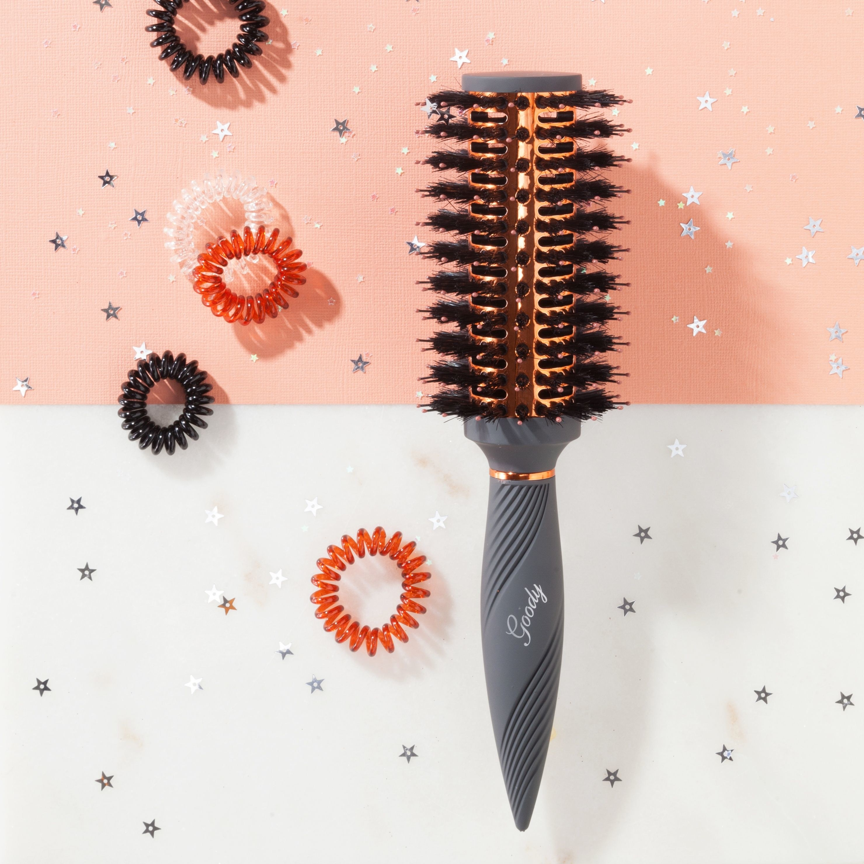 The gray and rose gold brush