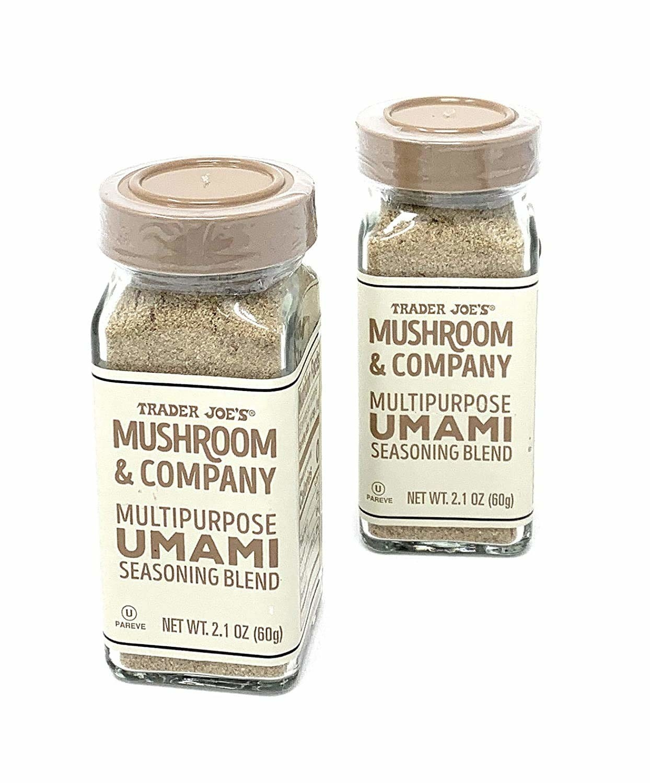 Two bottles of Trader Joe's mushroom and company multipurpose umami seasoning.