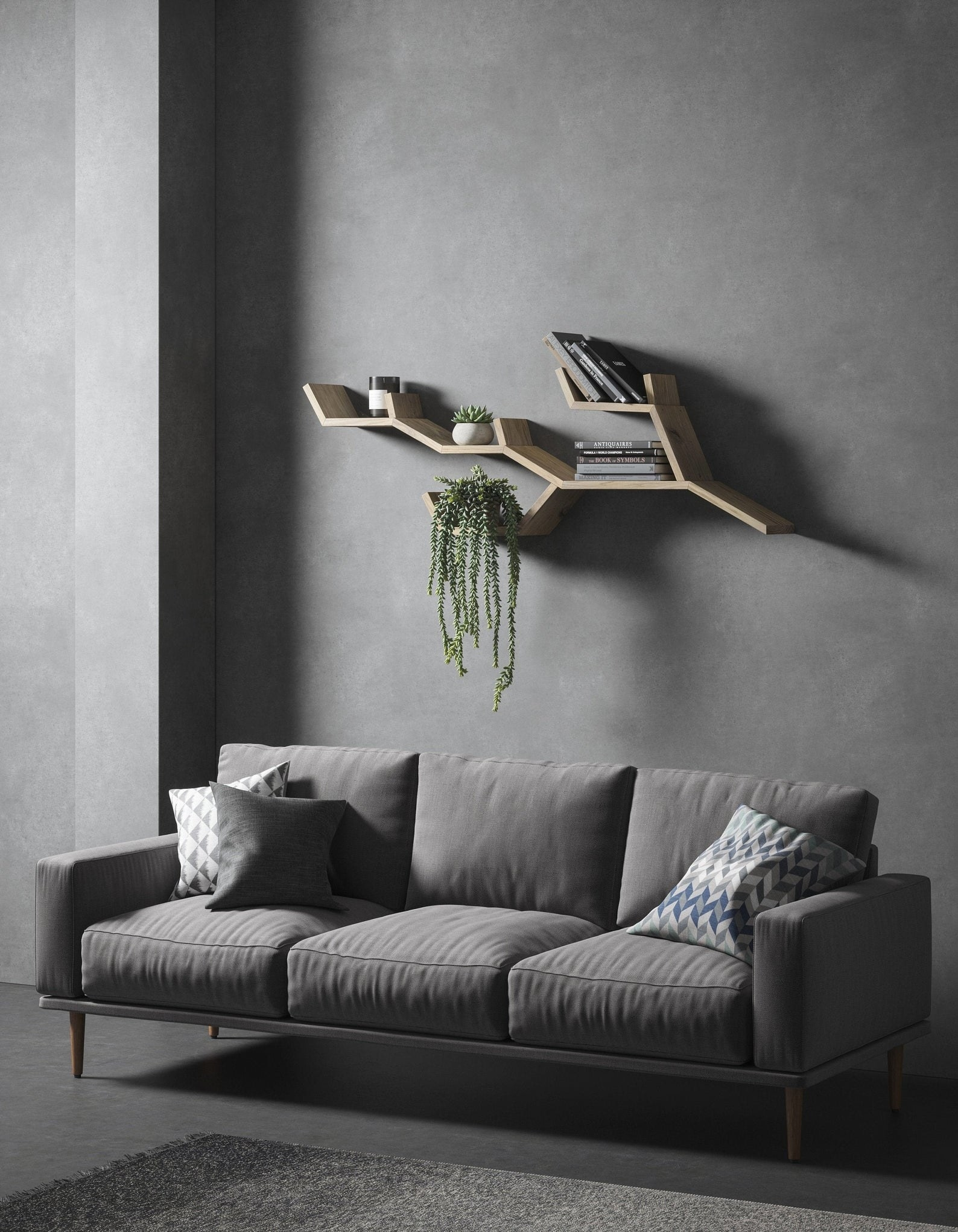 Wooden tree branch shaped bookshelf above the couch