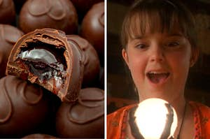 A chocolate truffle on the left and marnie from halloweentown on the right