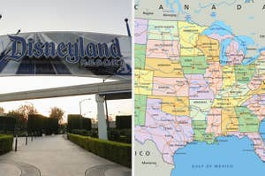 Side-by-side images of a Disneyland sign and a US map