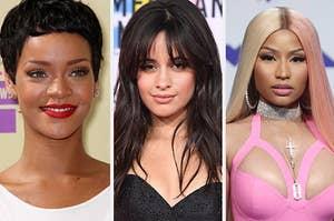Rihanna, Camila Cabello, and Nicki Minaj.